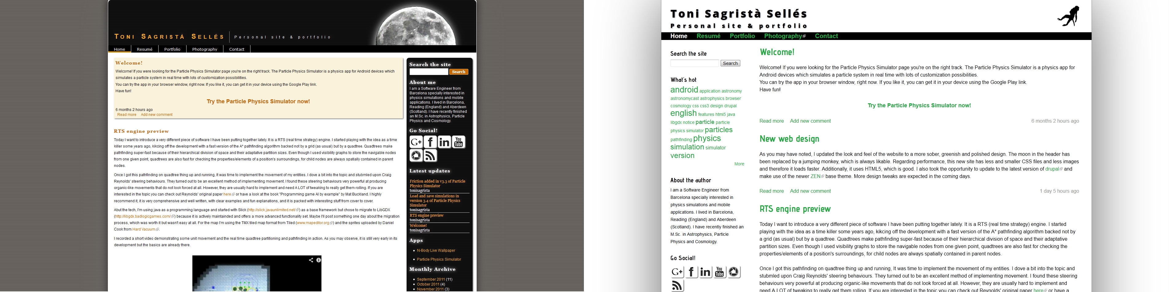 Old and new web designs